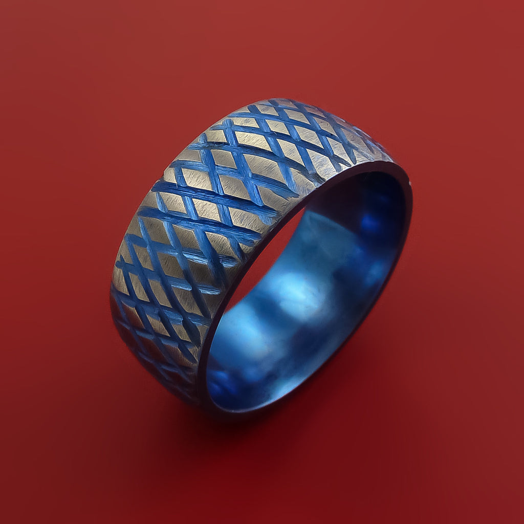 Titanium Reptile Skin Tron Blue Anodized Finish Band Unique and Modern Made Ring - Stonebrook Jewelry  - 3
