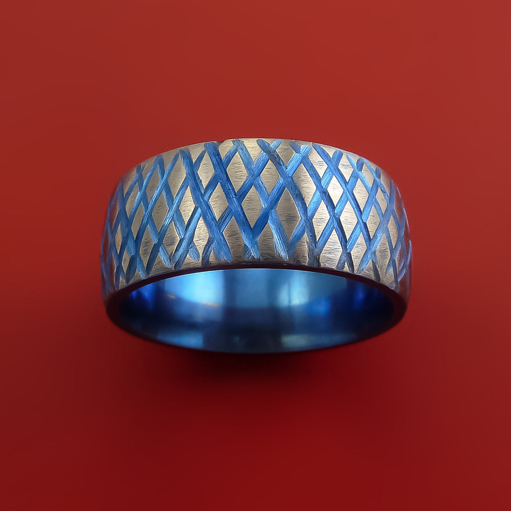 Titanium Reptile Skin Tron Blue Anodized Finish Band Unique and Modern Made Ring - Stonebrook Jewelry  - 2