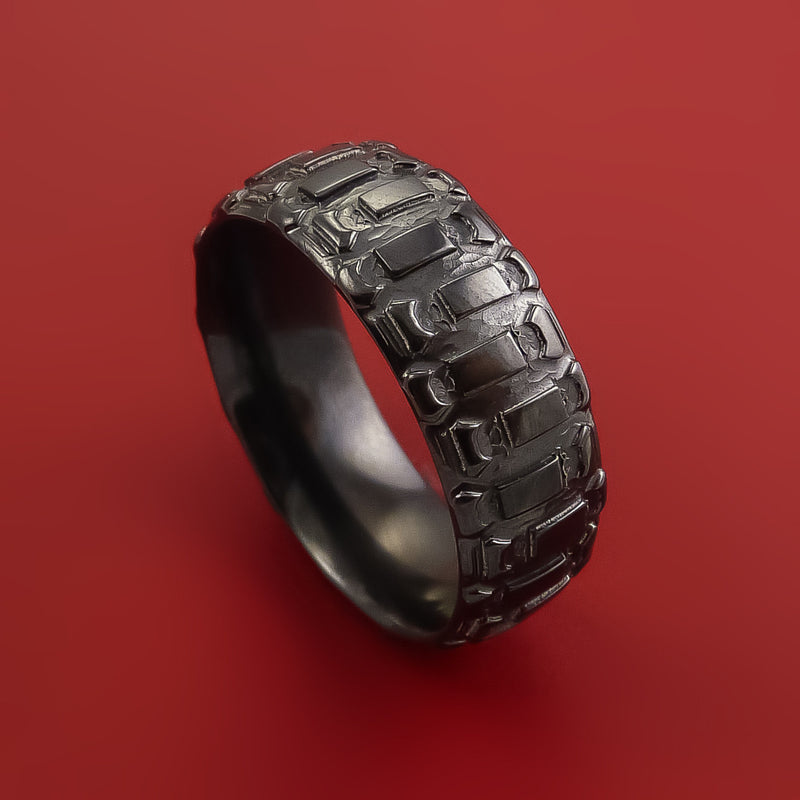 Black Zirconium Ring with Dirt Bike Tire Tread Pattern Inlay Custom Made Band