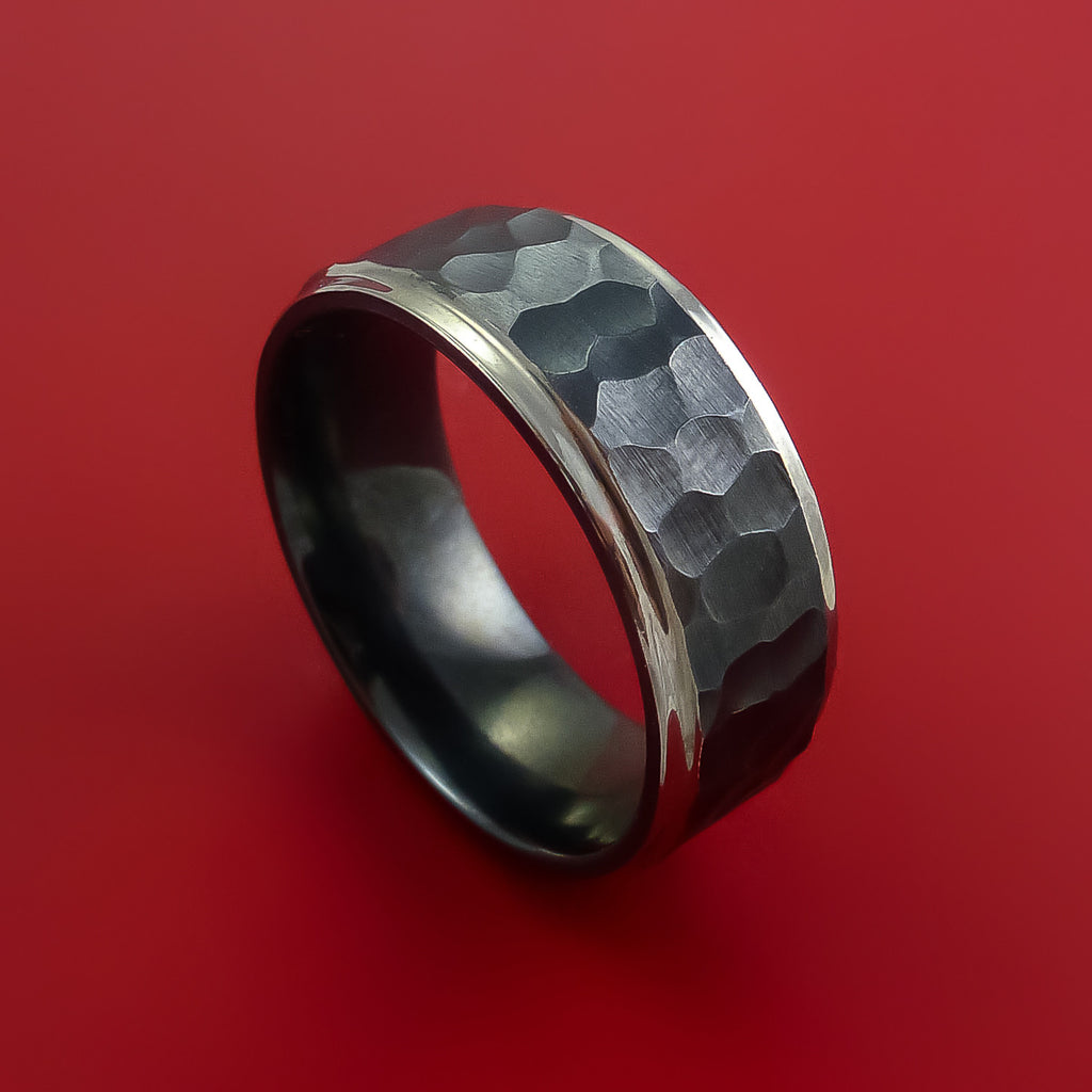 Hammered Black Zirconium Ring with Silvered Edges Custom Made Band