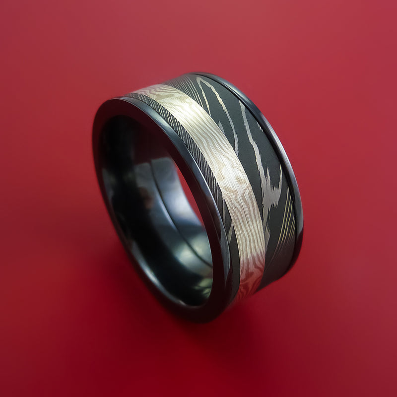 Wide Black Zirconium Ring with Damascus Steel and Palladium and Sterling Silver Mokume Gane Inlays Custom Made Band