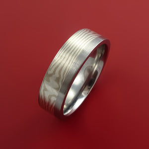 Titanium and Silver and Mokume Ring Custom Made to Any Size 3 to 22
