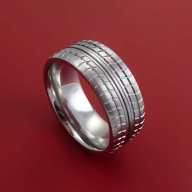 Cobalt Chrome Carved Tread Design Ring Bold Unique Band Custom Made to Any Sizing