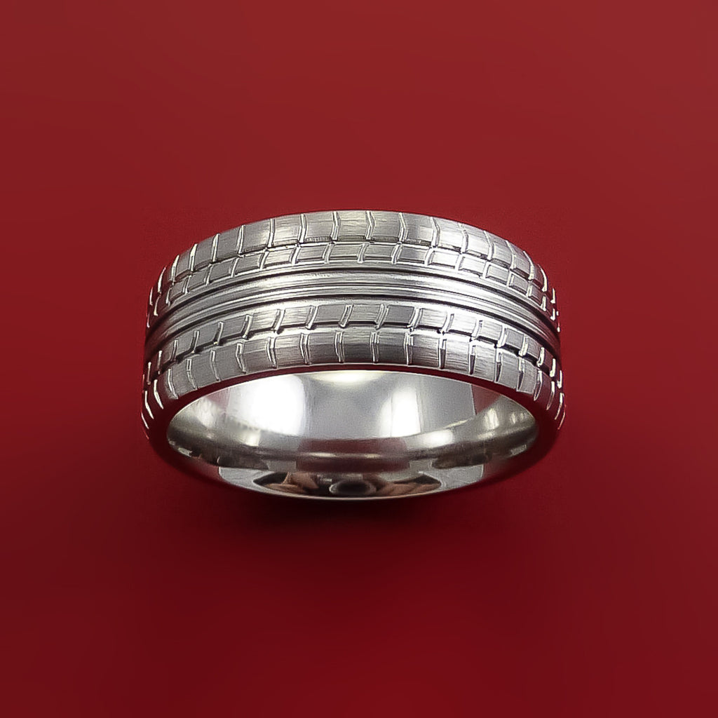 Cobalt Chrome Carved Tread Design Ring Bold Unique Band Custom Made to Any Sizing - Stonebrook Jewelry  - 2