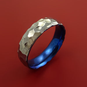Hammered Titanium Ring with Interior Anodized Sleeve Custom Made Band