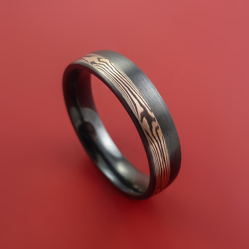 Black Zirconium Ring with 14k Rose Gold Mokume Shakudo Inlay Custom Made Band