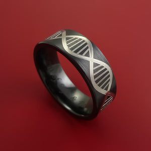 Black Zirconium Ring with DNA Strand Milled Inlay Custom Made Band