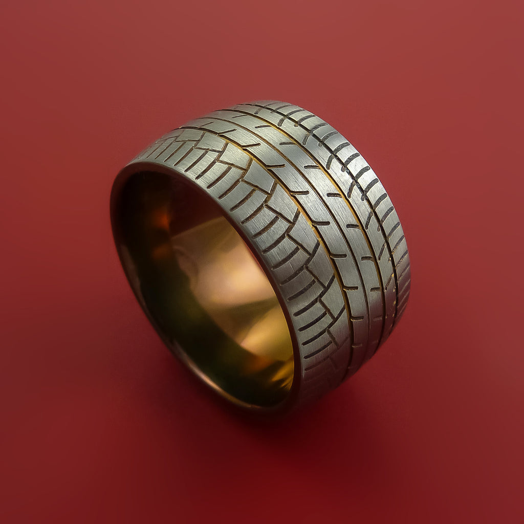 Wide Titanium Ring with Tire Tread Pattern and Anodized Inlays and Interior Anodized Sleeve Custom Made Band