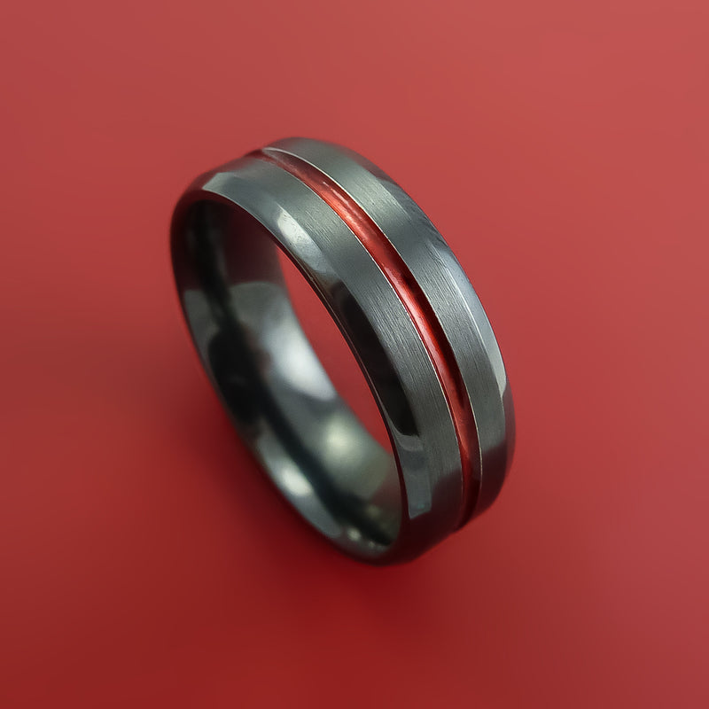 Black Zirconium Ring Traditional Style Band with Color Center Inlay