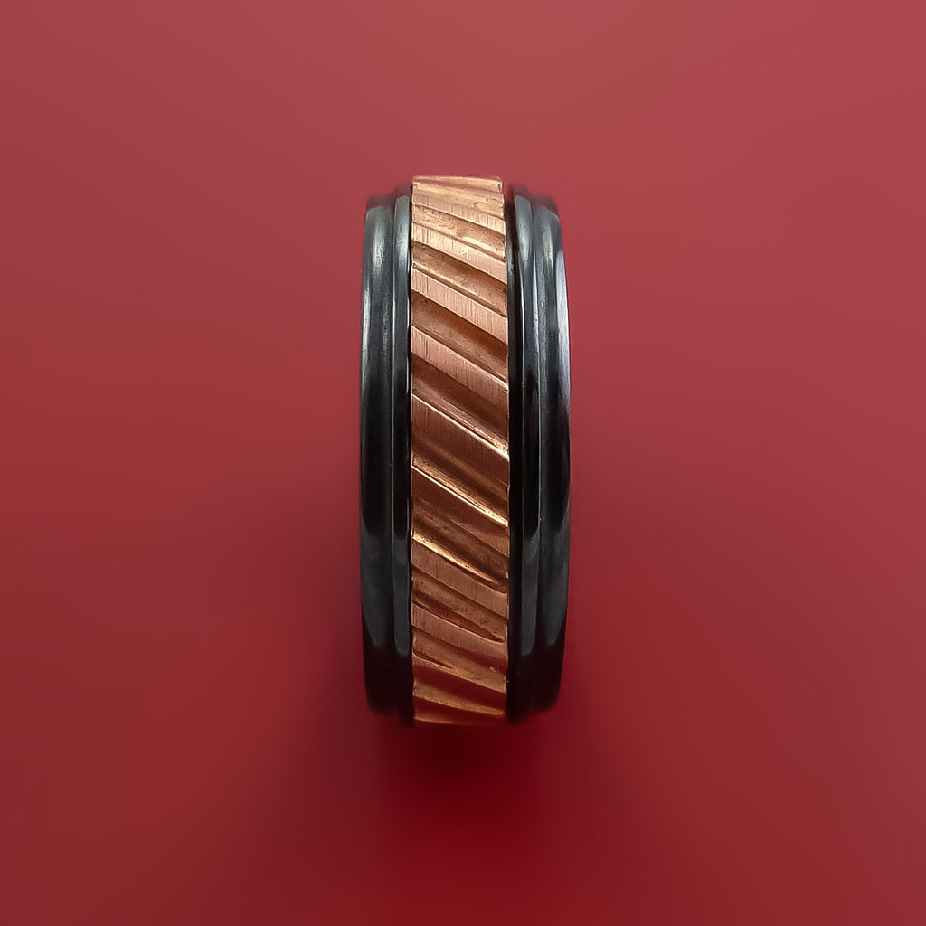 Black Zirconium Copper Inlay Spinner Unique Band Custom Made to order Sizing 5-18