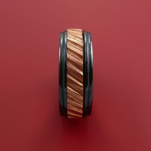 Black Zirconium Spinner Ring with Copper Inlay Custom Made Band