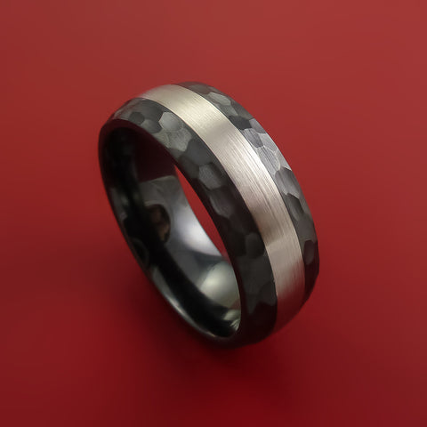 Black Zirconium Hammered Band Wide Palladium Inlay Ring Made to Any Sizing