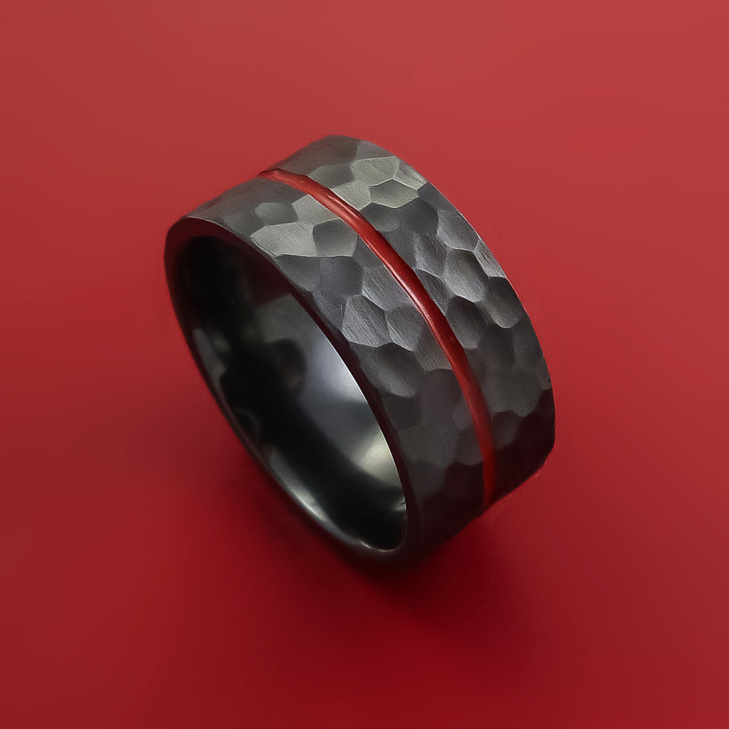 Black Zirconium Hammer Finish Ring Modern Style Band with Red Center Inlay Made to Any Sizing