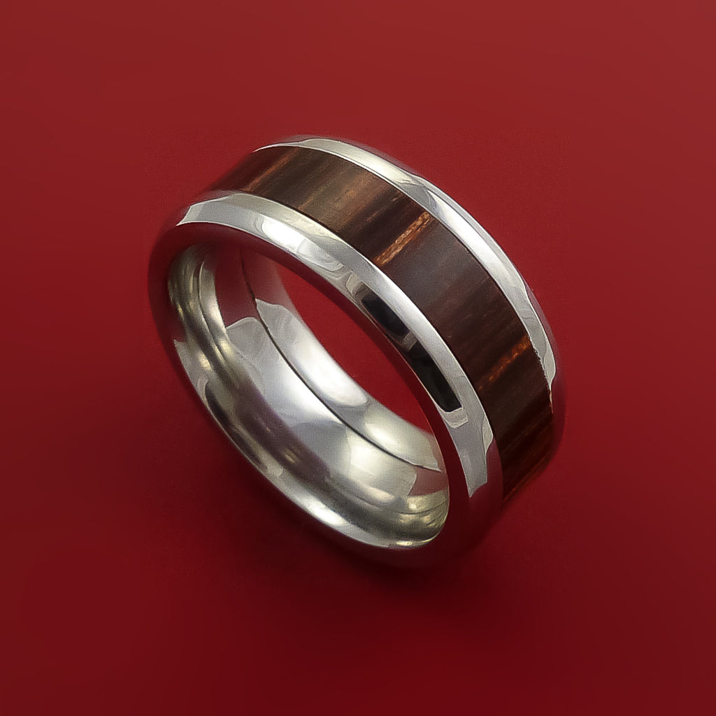 Cobalt Chrome Ring with Hardwood Inlay Custom Made Band