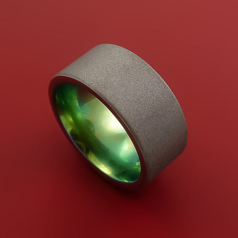 Titanium Wide Band Ring Made to Any Size Aqua Green Anodized Band