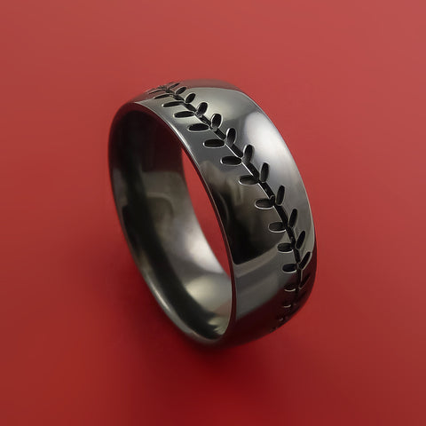 Black Zirconium Baseball Ring with Custom Stitching Fan Band Any Size and Color by Stonebrook Jewelry