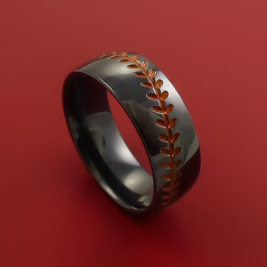 Black Zirconium Ring with Baseball Stitching and Cerakote Inlays Custom Made Band