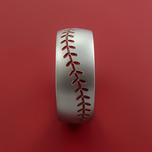 Cobalt Chrome Baseball Ring with Red Stitching Fan Band Any Size and Color Red, Green, Blue Inlay