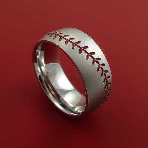 Cobalt Chrome Baseball Ring with Red Stitching Fan Band Any Size and Color Red, Green, Blue Inlay by Stonebrook Jewelry
