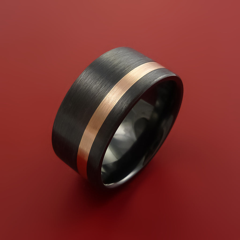 Black Zirconium and 14K Rose Gold Wide Ring Custom made Band Any Finish and Sizing by Stonebrook Jewelry