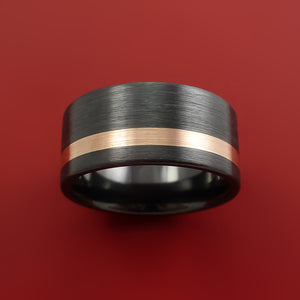 Wide Black Zirconium Ring with 14k Rose Gold Inlay Custom Made Band