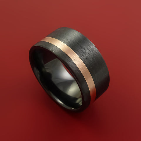 Black Zirconium and 14K Rose Gold Wide Ring Custom made Band Any Finish and Sizing