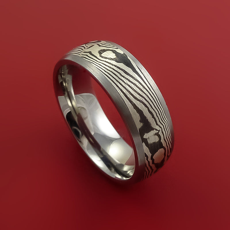 Titanium Ring with Silver Mokume Shakudo Inlay Custom Made Band