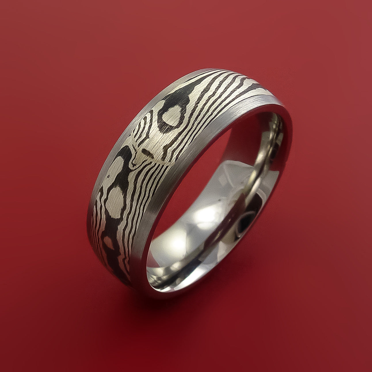 Titanium Ring With Silver Mokume Shakudo Inlay Custom Made
