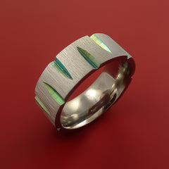Titanium Wedge Cut Wedding Band with Turquoise Anodizing Ring Made to Any Size by Stonebrook Jewelry