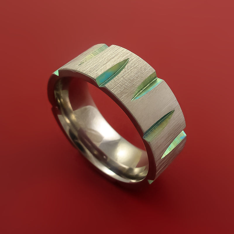 Titanium Wedge Cut Wedding Band with Turquoise Anodizing Ring Made to Any Size