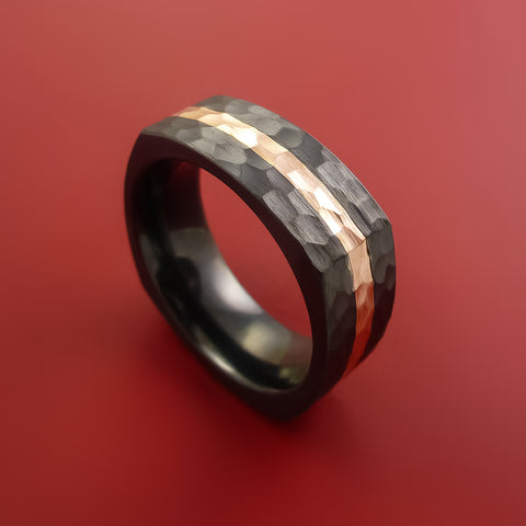 Black Zirconium and 14K Rose Gold Square Ring Hammer Finish Custom Made Band