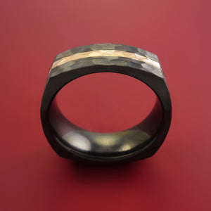 Hammered Black Zirconium Ring with 14k Rose Gold Inlay Custom Made Band