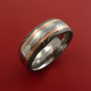 Damascus Steel Ring with Copper Inlay Custom Made Band