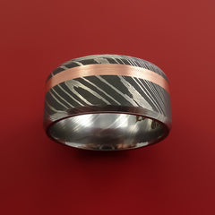 Damascus Steel Wide 14K Rose Gold Ring Wedding Band Custom Made - Stonebrook Jewelry  - 2