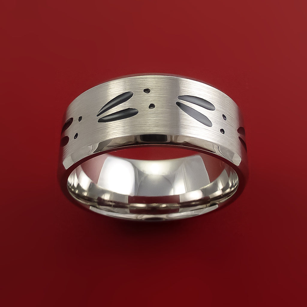 Cobalt Chrome Deer Tracks Band Hunters Ring Made to Any Sizing and Color