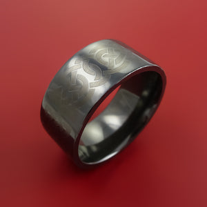 Black Zirconium Ring with Infinity Knot Etched Celtic Design Inlay Custom Made Band