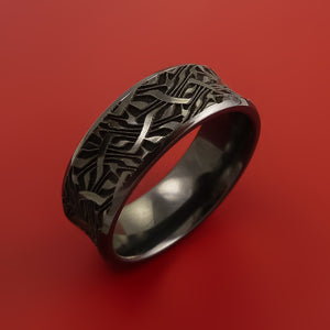 Black Zirconioum Marble Swirl Twist Ring Made to Any Sizing