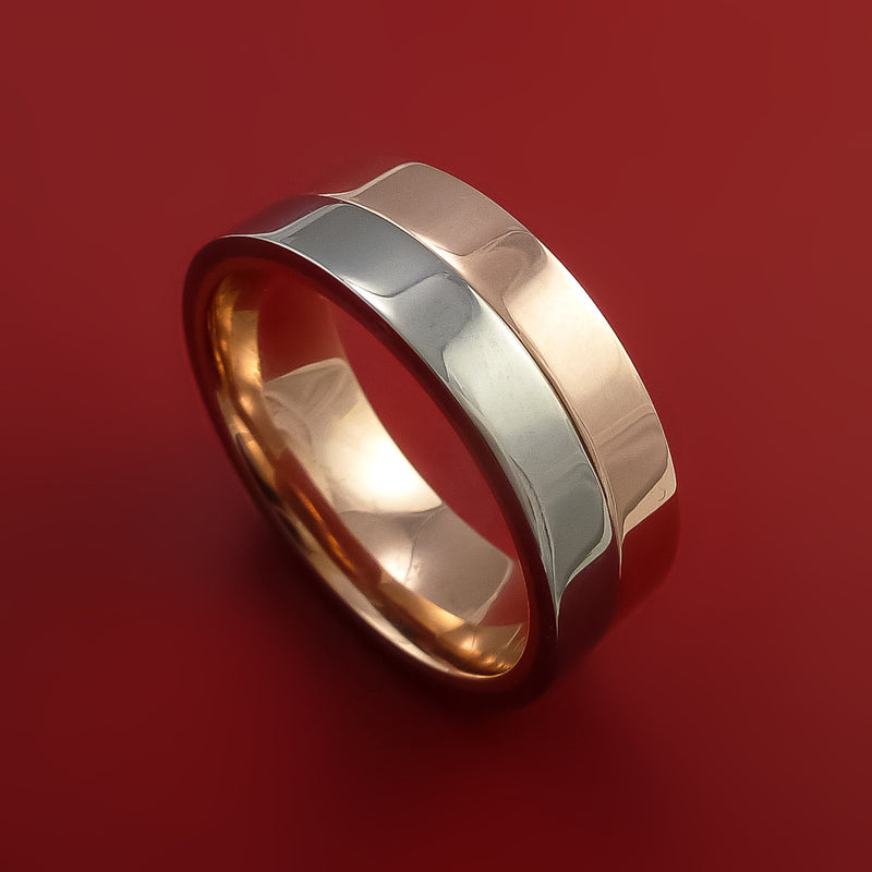 Titanium and Gold Ring Style with Solid 14k Rose Gold Inner Sleeve Wedding Band Custom made to Any Size