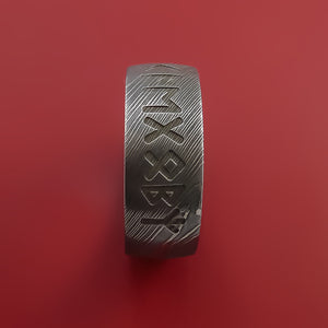 Damascus Steel Ring with Runic Symbol Inlay Custom Made Band