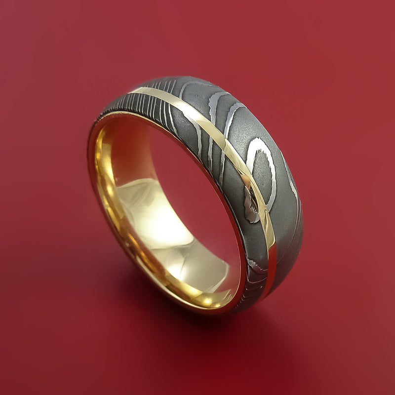 Damascus Steel Ring with 14k Yellow Gold Inlay and Interior 14k Yellow Gold Sleeve Custom Made Band