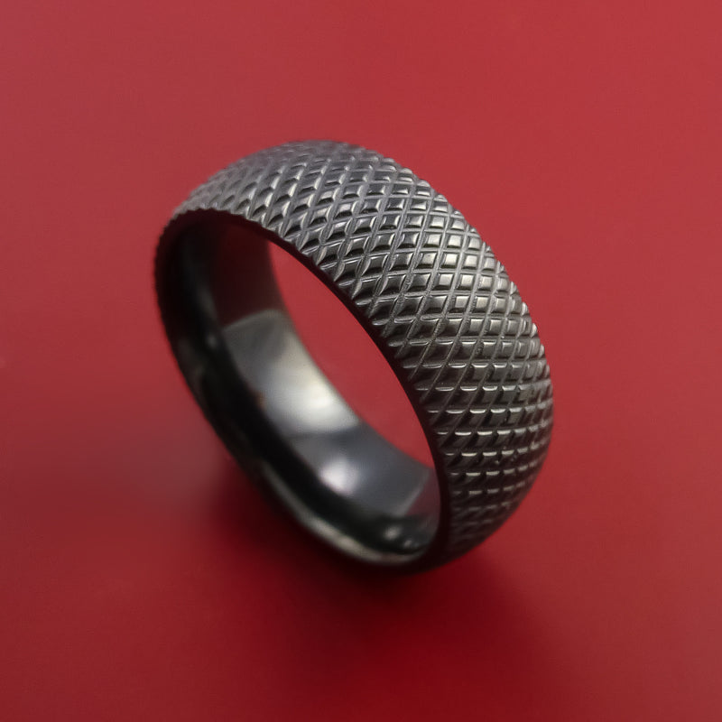 Black Zirconium Wide Ring Textured Knurl Pattern Hockey Band Made to Any Sizing and Finish