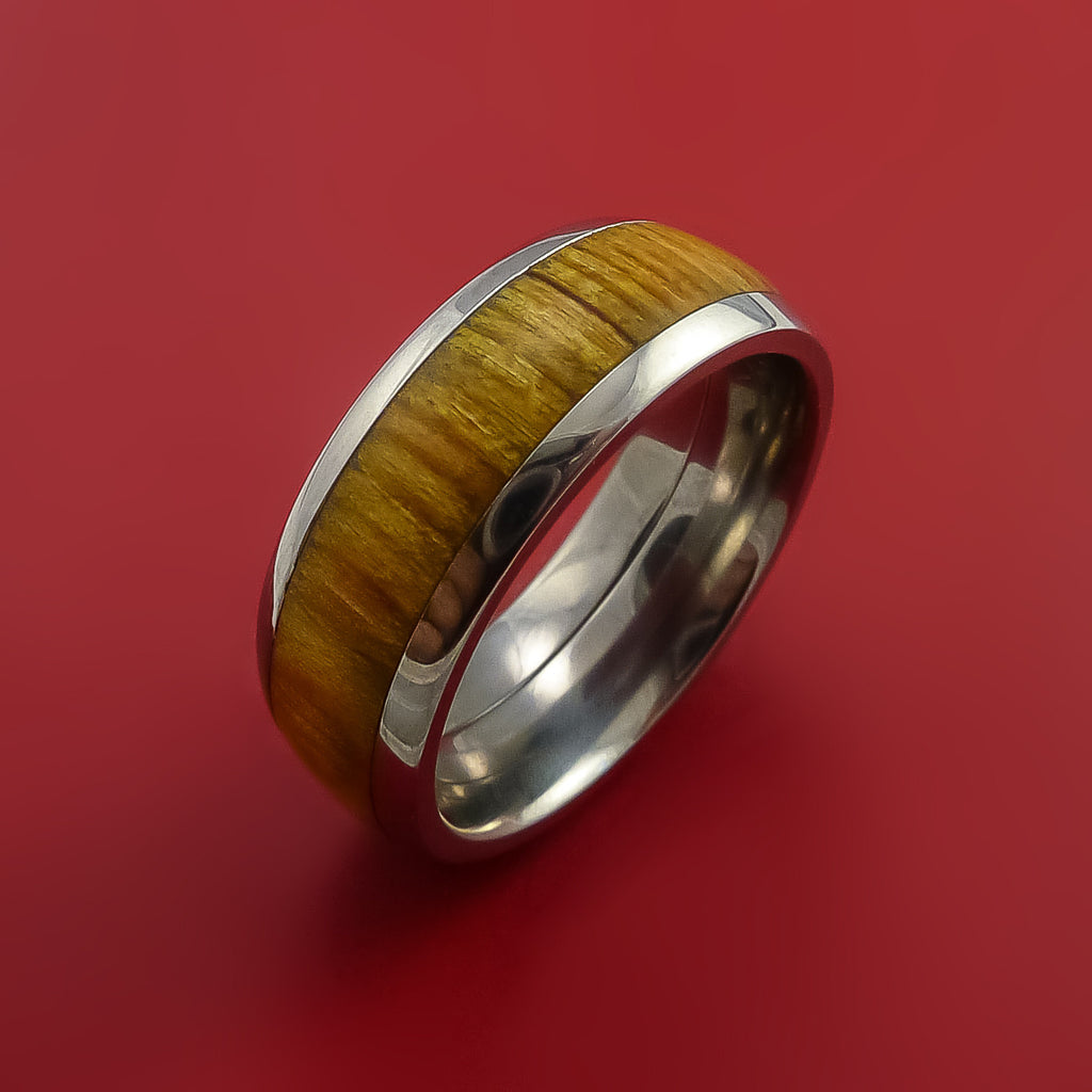 Wood Ring and Titanium Ring inlaid with LEMON WOOD Custom Made to Any Size and Optional Wood Types by Stonebrook Jewelry