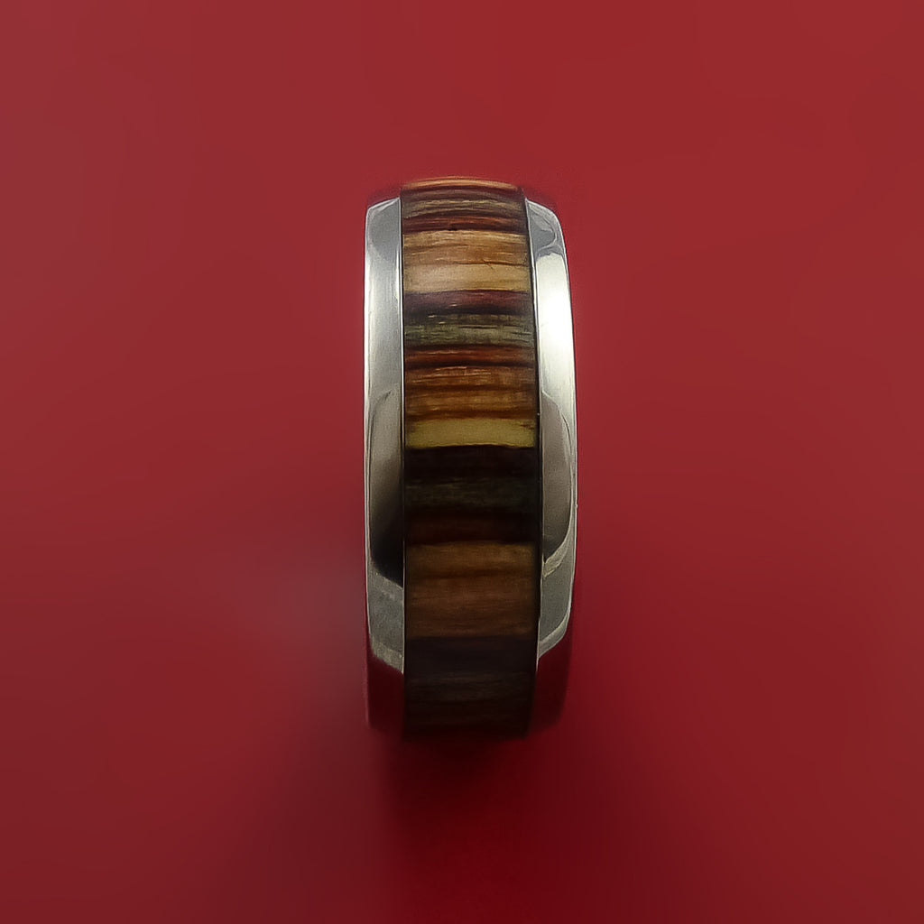 Wood Ring and Titanium Ring inlaid with HAZELNUT WOOD Custom Made to Any Size and Optional Wood Types by Stonebrook Jewelry