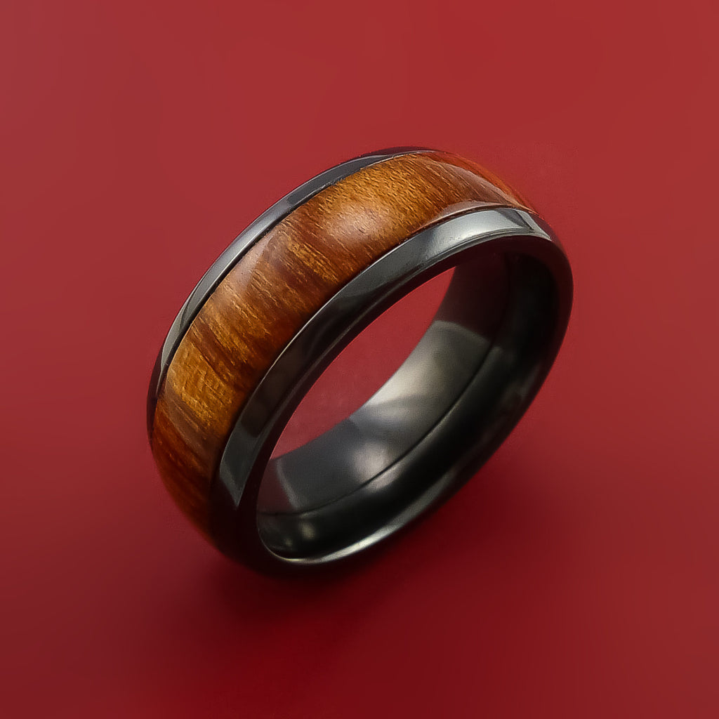 Wood Ring and BLACK ZIRCONIUM Ring inlaid with FIJI ORANGE WOOD Custom Made to Any Size and Optional Wood Types by Stonebrook Jewelry