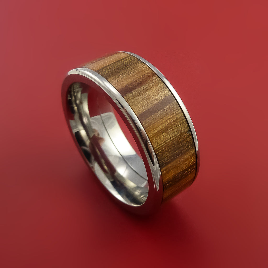 Wood Ring and Titanium Ring inlaid with AMERICAN OAK WOOD Custom Made to Any Size and Optional Wood Types