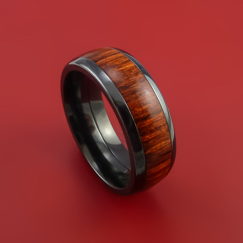 Wood Ring and Black Zirconium Band inlaid with Hardwood Custom Made