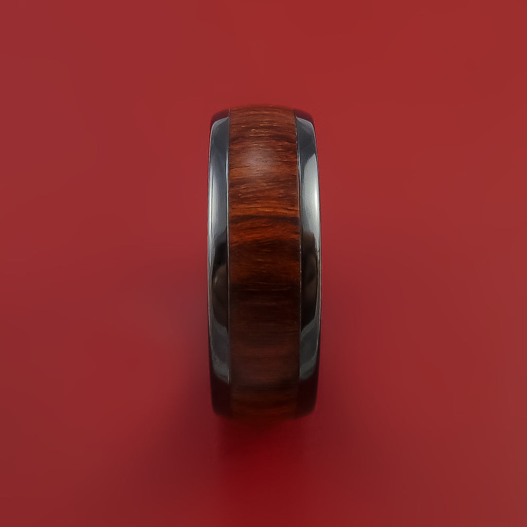 Wood Ring and Black Zirconium Band inlaid with ROSE WOOD Custom Made to Any Size and Optional Wood Types by Stonebrook Jewelry