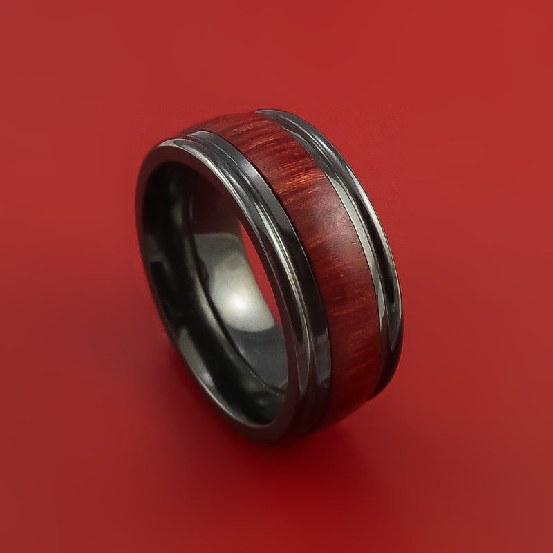 Wood Ring and BLACK ZIRCONIUM Ring inlaid with COCOBOLO WOOD Custom Made to Any Size and Optional Wood Types