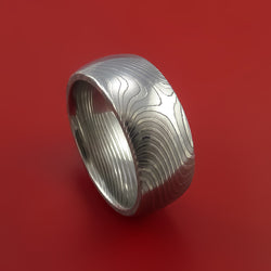 Damascus Steel Band Flat Twist Pattern Ring