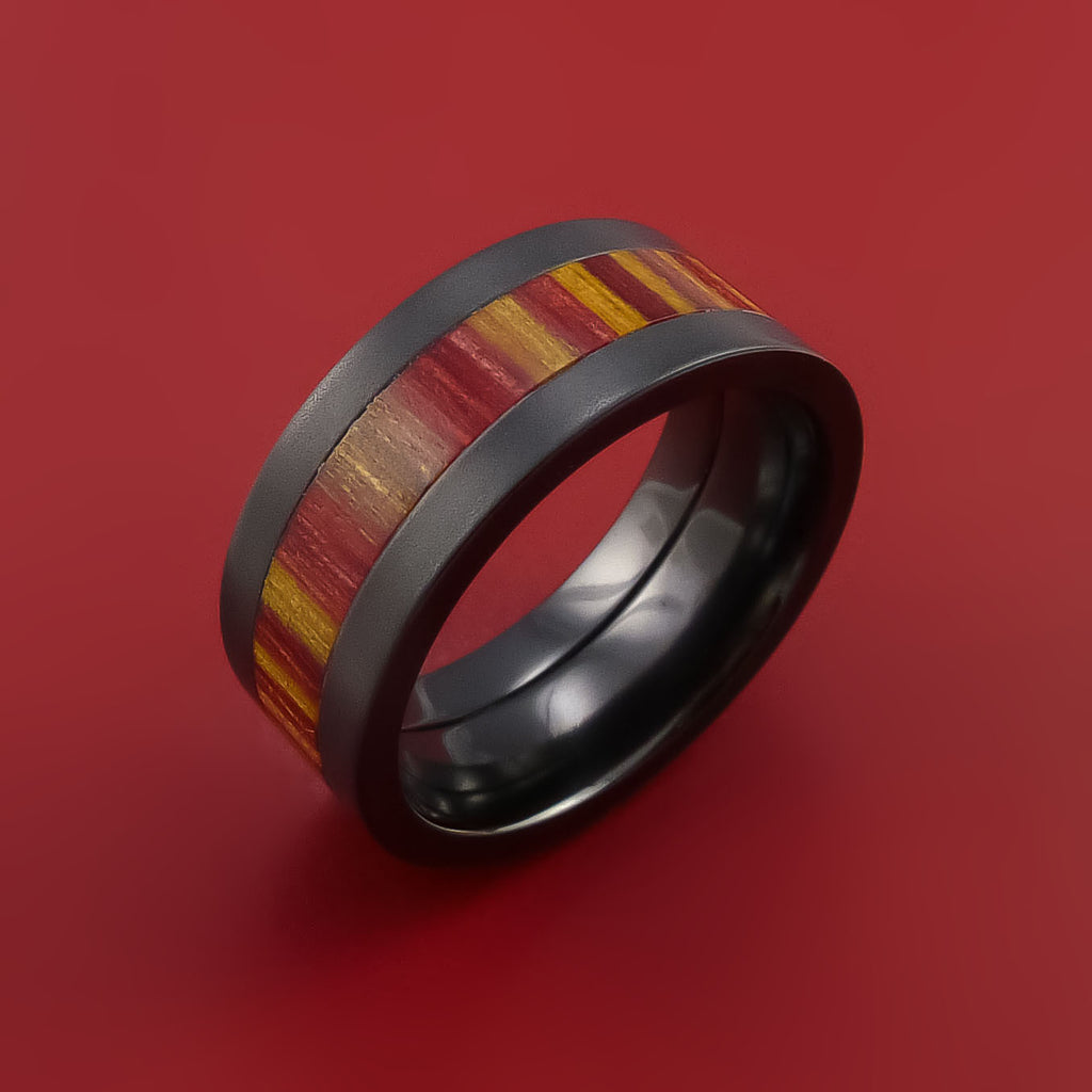 Wood Ring and BLACK ZIRCONIUM Ring inlaid with Terracotta WOOD Custom Made in the USA by Stonebrook Jewelry